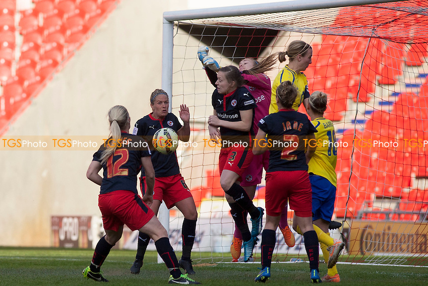 Goalmouth scramble<br />   - Doncaster Rovers Belles vs Reading Women - FA Womens Super League 2 Football at the Keepmoat Stadium, Doncaster Rovers FC - 16/05/15 - MANDATORY CREDIT: Mark Hodsman/TGSPHOTO - Self billing applies where appropriate - contact@tgsphoto.co.uk - NO UNPAID USE