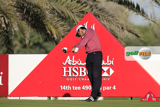 Jorge Campillo (ESP) tees off the 14th tee during Friday's Round 2 of the Abu Dhabi HSBC Golf Championship at Abu Dhabi Golf Club, 18th January 2013 (Photo Eoin Clarke/www.golffile.ie)