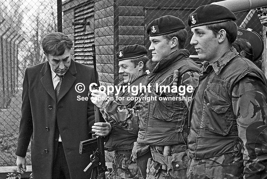 "British comedian Frankie Howard ""inspecting"" a guard of honour of British soldiers serving in N Ireland, UK, during a visit to the Military Wing of Belfast's Musgrave Park Hospital. 197302020075e..Copyright Image from Victor Patterson, 54 Dorchester Park, Belfast, UK, BT9 6RJ..Tel: +44 28 9066 1296.Mob: +44 7802 353836.Voicemail +44 20 8816 7153.Skype: victorpattersonbelfast.Email: victorpatterson@mac.com.Email: victorpatterson@ireland.com (back-up)..IMPORTANT: If you wish to use this image or any other of my images please go to www.victorpatterson.com and click on the Terms & Conditions. Then contact me by email or phone with the reference number(s) of the image(s) concerned."
