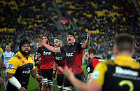 Scott Barrett tries to hurry up a Hurricanes lineout throw-in during the Super Rugby match between the Hurricanes and Crusaders at Westpac Stadium in Wellington, New Zealand on Saturday, 15 July 2017. Photo: Dave Lintott / lintottphoto.co.nz
