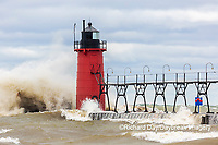 64795-02301 South Haven Lighthouse with high waves crashing South Haven,  MI