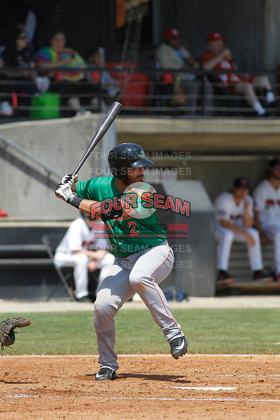 Down East Wood Ducks infielder Carlos Garay (2) at bat during a game against the Carolina Mudcats  on April 27, 2017 at Five County Stadium in Zebulon, North Carolina. Carolina defeated Down East 9-7. (Robert Gurganus/Four Seam Images)