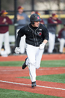 Nick Matera (7) of the Rutgers Scarlet Knights hustles down the first base line against the Iona Gaels at City Park on March 8, 2017 in New Rochelle, New York.  The Scarlet Knights defeated the Gaels 12-3.  (Brian Westerholt/Four Seam Images)