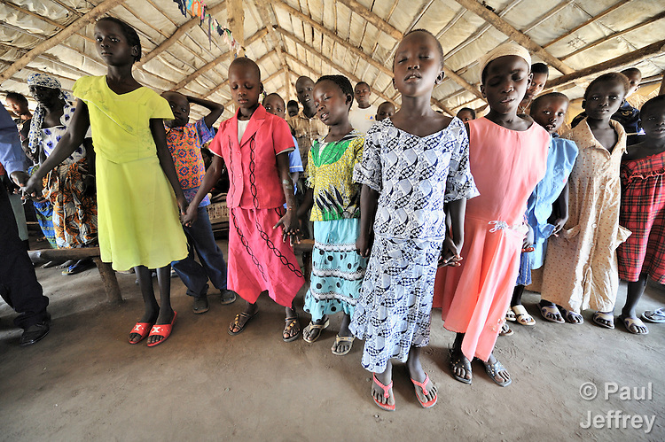 Children participate as the congregation prays during Sunday morning worship at the United Methodist Church in Yei, a town in Central Equatoria State in Southern Sudan. NOTE: In July 2011, Southern Sudan became the independent country of South Sudan