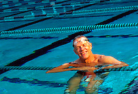 Older man in swimming pool
