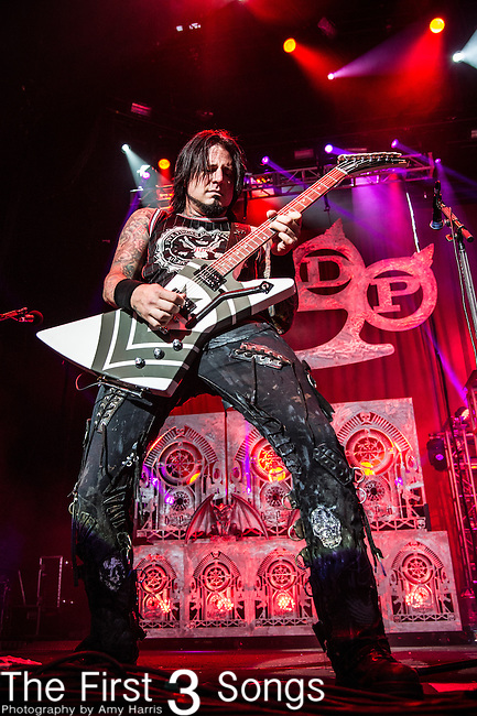 Jason Hook of Five Finger Death Punch performs during the 2013 Mayhem Festival at Klipsch Music Center in Indianapolis, Indiana.