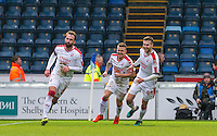 Josh Payne of Crawley Town celebrates his goal followed by Dean Cox & Conor Henderson (44) of Crawley Town during the Sky Bet League 2 match between Wycombe Wanderers and Crawley Town at Adams Park, High Wycombe, England on 25 February 2017. Photo by Andy Rowland / PRiME Media Images.