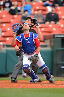 Buffalo Bisons catcher Mike Nickeas #11 and umpire Toby Basner look for a pop up foul ball during a game against the Norfolk Tides on May 9, 2013 at Coca-Cola Field in Buffalo, New York.  Norfolk defeated Buffalo 7-1.  (Mike Janes/Four Seam Images)