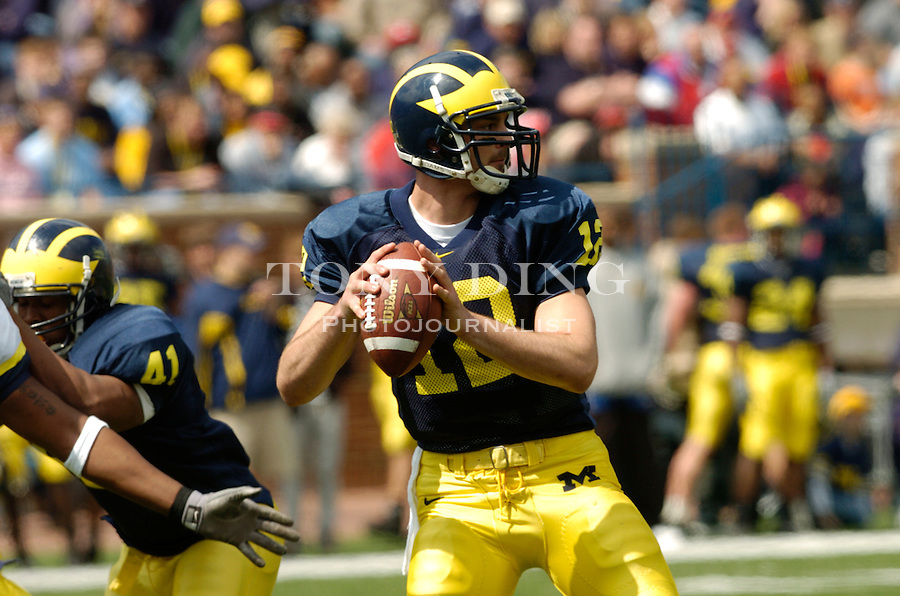 Michigan junior quarterback Matt Gutierrez (12) during the Spring Scrimmage game on Saturday, April 10, 2004 at Michigan Stadium in Ann Arbor, Mich. (TONY DING/The Michigan Daily)