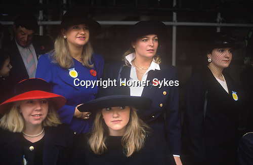Sloane Sloan Rangers watch the Lord Mayors of London Show, London England. Circa 1980.