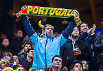 Solna 2013-11-19 Fotboll VM-kval Playoff , Sverige - Portugal :  <br /> Portugal supporter med halsduk<br /> (Photo: Kenta J&ouml;nsson) Keywords:  Sweden Portugal supporter fans publik supporters