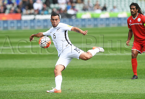 12.11.2016. Auckland, New Zealand.  Clayton Lewis takes a shot on goal. New Zealand All Whites versus New Caledonia. Oceania Football Confederation stage 3 qualifier match for the FIFA World Cup in Russia 2018. QBE Stadium, Auckland, New Zealand.