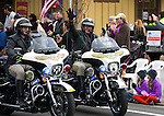 Carson City Sheriff&rsquo;s Deputies Joey Trotter, left, and Wayne Wheeler ride in the annual Nevada Day parade in Carson City, Nev. on Saturday, Oct. 29, 2016. <br />