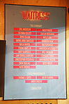 "Lobby cast board for Jason Mraz Debut In Broadway's ""Waitress"" at The Brooks Atkinson Theatre on November 3, 2017 in New York City."