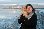 "Reggi Parks with Pomeranian ""Misty"" at Earthquake Park in Anchorage, Alaska."