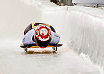 8 January 2016: Sophia Griebel, competing for Germany, crosses the finish line on her first run of the BMW IBSF World Cup Skeleton race at the Olympic Sports Track in Lake Placid, New York, USA. Mandatory Credit: Ed Wolfstein Photo *** RAW (NEF) Image File Available ***