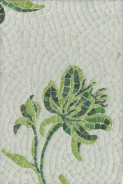 Peony, a jewel glass mosaic, is shown in Peridot, Opal and Aventurine.