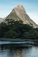 Morning in Milford Sound with Mitre Peak, Fiordland National Park, Southland, UNESCO World Heritage Area, New Zealand, NZ