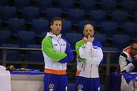 SCHAATSEN: HEERENVEEN: 21-03-2014, IJsstadion Thialf, Training WK Allround, Gerard Kemkers/ Rutger Tijssen, ©foto Martin de Jong