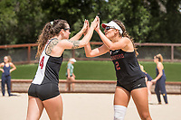 STANFORD, CA -- April 20, 2019. The Stanford Cardinal women's beach volleyball team falls to the Cal Poly Mustangs 4-1 at the Stanford Beach Volleyball Stadium.