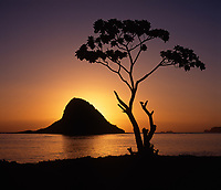 Chinaman's Hat, Mokolii Island at Sunrise, Oahu, Hawaii, USA.