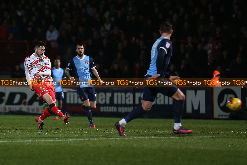 Tom Pett of Stevenage goes close to a goal during Stevenage vs Leyton Orient, Sky Bet EFL League 2 Football at the Lamex Stadium on 28th February 2017