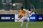 KANSAS CITY, MO - DECEMBER 03:  Nate Evans (22) of Wingate University and Illal Osumanu (28) of the University of Charleston battle for the ball during the Division II Men's Soccer Championship held at Children's Mercy Victory Field at Swope Soccer Village on December 03, 2016 in Kansas City, Missouri. Wingate beat Charleston 2-0 to win the National Championship. (Photo by Jack Dempsey/NCAA Photos via Getty Images)