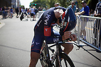 Matthias Brändle (AUT/IAM) exhausted after finishing the TTT<br /> <br /> Elite Men's Team Time Trial<br /> UCI Road World Championships Richmond 2015 / USA