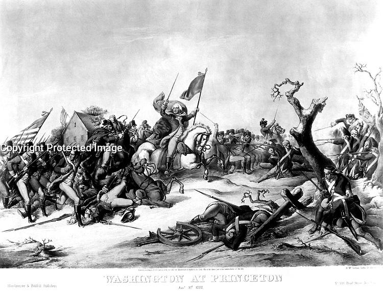 Washington at Princeton Jany. 3rd, 1777.  Copy of lithograph by D. McLellan, 1853. (George Washington Bicentennial Commission)<br />NARA FILE #:  148-GW-331<br />WAR &amp; CONFLICT #:  32