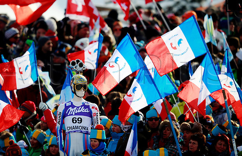 04.02.2012 Chamonix France.  Ski Alpine FIS World Cup Downhill for men Picture shows supporters and Flags
