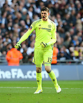 Chelsea's Thibaut Courtois celebrates his sides third goal during the FA Cup Semi Final match at Wembley Stadium, London. Picture date: April 22nd, 2017. Pic credit should read: David Klein/Sportimage