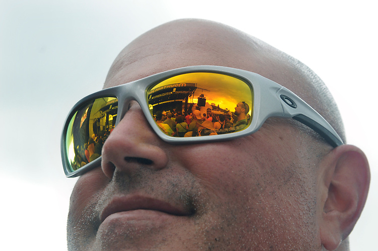 a performance of, The Mother Hips, seen reflected in the distinctive sunglasses of an audience member at Mountain Jam Music Festival of 2015, in Hunter, NY on Friday June 5, 2015. Photo by Jim Peppler. Copyright Jim Peppler 2015.