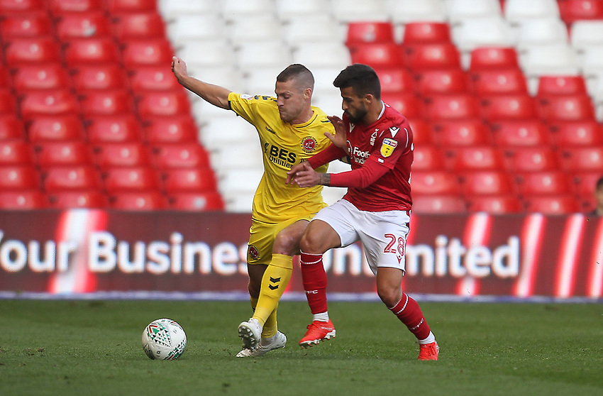 Fleetwood Town's Paul Coutts battles with Nottingham Forest's Tiago Silva<br /> <br /> Photographer Mick Walker/CameraSport<br /> <br /> The Carabao Cup First Round - Nottingham Forest v Fleetwood Town - Tuesday 13th August 2019 - The City Ground - Nottingham<br />  <br /> World Copyright © 2019 CameraSport. All rights reserved. 43 Linden Ave. Countesthorpe. Leicester. England. LE8 5PG - Tel: +44 (0) 116 277 4147 - admin@camerasport.com - www.camerasport.com