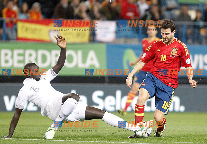Spain's national team Cesc Fabregas against France's national team Mamadou Sakho during match. October 16, 2012. (ALTERPHOTOS/Alvaro Hernandez) .Madrid 16/10/2012 .Football Calcio Qualificazioni Mondiali 2014.Spagna Vs Francia.Foto Alterphotos / Insidefoto.ITALY ONLY