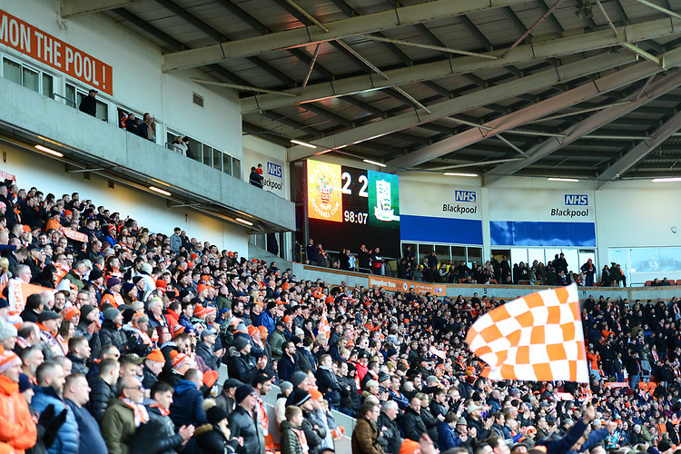 General View of Blackpool fans and the big screen showing the final score of 2-2<br /> <br /> Photographer Richard Martin-Roberts/CameraSport<br /> <br /> The EFL Sky Bet League One - Blackpool v Southend United - Saturday 9th March 2019 - Bloomfield Road - Blackpool<br /> <br /> World Copyright © 2019 CameraSport. All rights reserved. 43 Linden Ave. Countesthorpe. Leicester. England. LE8 5PG - Tel: +44 (0) 116 277 4147 - admin@camerasport.com - www.camerasport.com