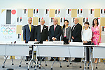 (L to R)  Sadaharu Oh,  Katsuhiko Kumazaki,  Riccardo Fraccari,  Beng Choo Low,  Dele Mcmann,  Taeko Utsugi,  Maria Soto,  AUGUST 7, 2015 :  World Baseball Softball Confederation (WBSC)  holds a media conference following its interview  with the Tokyo 2020 Organising Committee in Tokyo Japan.  (Photo by YUTAKA/AFLO SPORT)