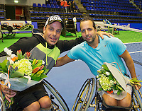 Rotterdam, Netherlands, December 19, 2015,  Topsport Centrum, Lotto NK Tennis, Wheelchair mens final, runners up : Berry Korst and Koen Meerwijk (NED)<br /> Photo: Tennisimages/Henk Koster