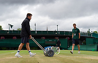 Groundsmen working on the outside courts<br /> <br /> Photographer Ashley Western/CameraSport<br /> <br /> Wimbledon Lawn Tennis Championships - Day 9 - Wednesday 12th July 2017 -  All England Lawn Tennis and Croquet Club - Wimbledon - London - England<br /> <br /> World Copyright &not;&copy; 2017 CameraSport. All rights reserved. 43 Linden Ave. Countesthorpe. Leicester. England. LE8 5PG - Tel: +44 (0) 116 277 4147 - admin@camerasport.com - www.camerasport.com