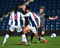 Lincoln City U18's Max Gee gets past West Bromwich Albion U18's Nathan Ferguson, left, and Zak Brown<br /> <br /> Photographer Andrew Vaughan/CameraSport<br /> <br /> FA Youth Cup Round Three - West Bromwich Albion U18 v Lincoln City U18 - Tuesday 11th December 2018 - The Hawthorns - West Bromwich<br />  <br /> World Copyright &copy; 2018 CameraSport. All rights reserved. 43 Linden Ave. Countesthorpe. Leicester. England. LE8 5PG - Tel: +44 (0) 116 277 4147 - admin@camerasport.com - www.camerasport.com