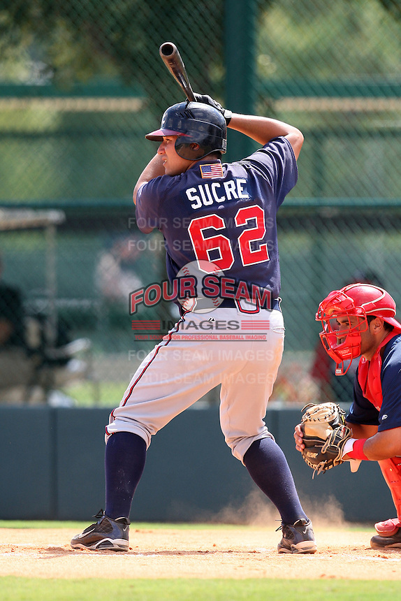 October 6, 2009:  Catcher Jesus Sucre of the Atlanta Braves organization during an Instructional League game at Disney's Wide World of Sports in Orlando, FL.  Photo by:  Mike Janes/Four Seam Images