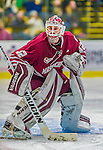 25 November 2014: University of Massachusetts Minutemen Goaltender Henry Dill, a Freshman from Columbus, Ohio, in second period action against the University of Vermont Catamounts at Gutterson Fieldhouse in Burlington, Vermont. The Cats defeated the Minutemen 3-1 to sweep the 2-game, home-and-away Hockey East Series. Mandatory Credit: Ed Wolfstein Photo *** RAW (NEF) Image File Available ***