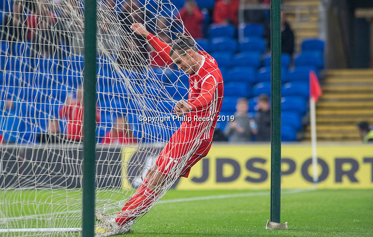 Cardiff - UK - 6th September :<br />Wales v Belarus Friendly match at Cardiff City Stadium.<br />Gareth Bale bounces off the back of the Belarus goal in the second half after a near miss.<br />Editorial use only