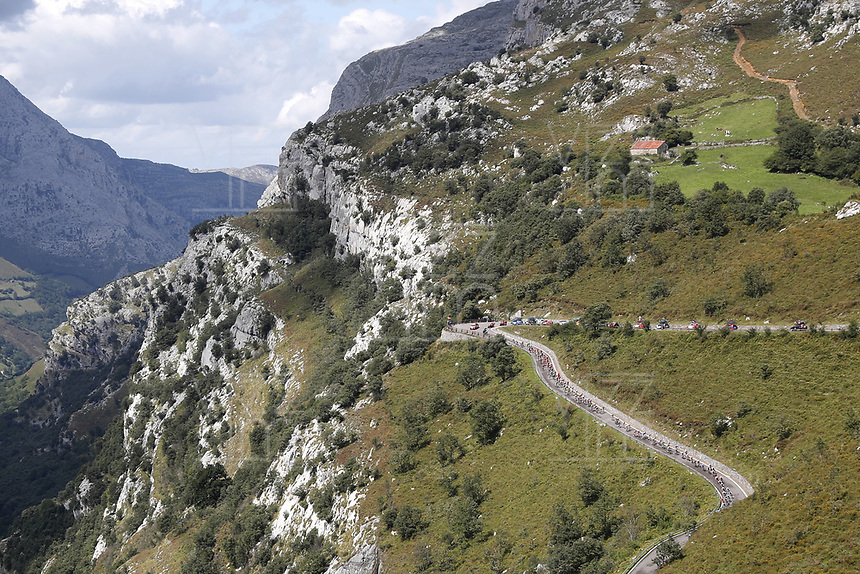 ESPAÑA, 06-09-2019: Paisaje en las montañas durante la etapa 13, hoy, 06 de septiembre de 2019, que se corrió entre Bilbao y Los Machucos. Monumento Vaca Pasiega con una distancia de 166,4 km como parte de La Vuelta a España 2019 que se disputa entre el 24/08 y el 15/09/2019 en territorio español. / Landscape of the mountains during the stage 13 today, September 06, 2019, from Bilbao to Los Machucos. Monumento Vaca Pasiega with a distance of 166,4 km as part of Tour of Spain 2019 which takes place between 08/24 and 09/15/2019 in Spain.  Photo: VizzorImage / Luis Angel Gomez / ASO.  Photo: VizzorImage / Luis Angel Gomez / ASO<br /> VizzorImage PROVIDES THE ACCESS TO THIS PHOTOGRAPH ONLY AS A PRESS AND EDITORIAL SERVICE AND NOT IS THE OWNER OF COPYRIGHT; ANOTHER USE HAVE ADDITIONAL PERMITS AND IS  REPONSABILITY OF THE END USER