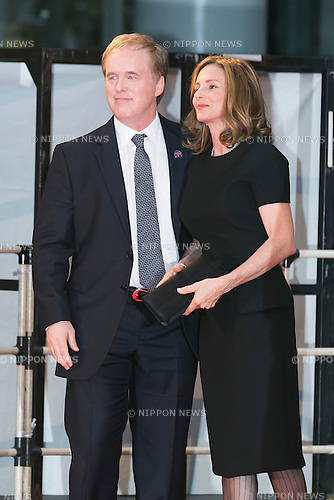 (R to L) American film director Brad Bird and his wife attend the Japan premiere for the film ''Tomorrowland'' in Roppongi Hills Arena on May 25, 2015, Tokyo, Japan. George Clooney visited Japan for the first time in eight years with his wife Amal. The movie hits the theaters across Japan on June 6th. (Photo by Rodrigo Reyes Marin/Walt Disney Studio Japan/AFLO)