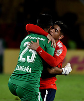BOGOTÁ - COLOMBIA, 17-05-2018: Los jugadores de Club Atlético Independiente (ARG), celebran el gol anotado a Millonarios (COL), durante partido entre Millonarios (COL) y Club Atlético Independiente (ARG), de la fase de grupos, grupo G, fecha 5 de la Copa Conmebol Libertadores 2018, en el estadio Nemesio Camacho El Campin, de la ciudad de Bogota. / The players of Club Atlético Independiente (ARG), celebrate a scored goal to Millonarios (COL), during a match between Millonarios (COL) and Club Atletico Independiente (ARG), of the group stage, group G, 5th date for the Conmebol Copa Libertadores 2018 in the Nemesio Camacho El Campin stadium in Bogota city. VizzorImage / Luis Ramirez / Staff.