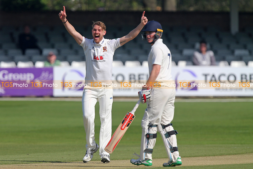 Jamie Porter of Essex successfully appeals for the wicket of James McCollum during Essex CCC vs Durham MCCU, English MCC University Match Cricket at The Cloudfm County Ground on 3rd April 2017