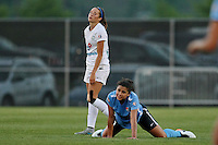 Piscataway, NJ - Saturday June 11, 2016: Shea Groom, Raquel Rodriguez during a regular season National Women's Soccer League (NWSL) match between Sky Blue FC and FC Kansas City at Yurcak Field.