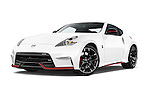 Stock pictures of low aggressive front three quarter view of a 2015 Nissan 370Z NISMO 2 Door Coupe Low Aggressive