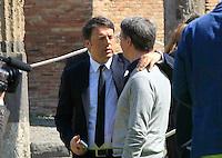 il presidente del consiglio matteo Renzi e raffaele Cantonenegli scavi archeologici di Pompei per presentare Expo 2015,  18 Aprile 2015