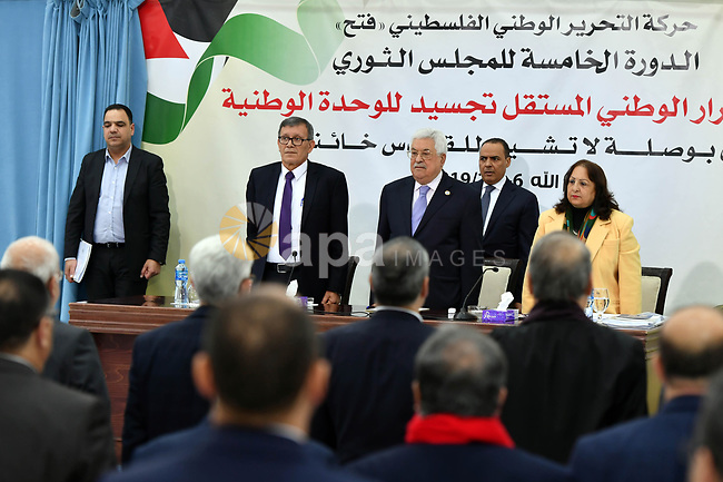 alestinian President Mahmoud Abbas chairs the revolutionary council meeting of Fatah movement at the Palestinian Presidential Office in the West Bank city of Ramallah, February 6, 2019. Photo by Thaer Ganaim